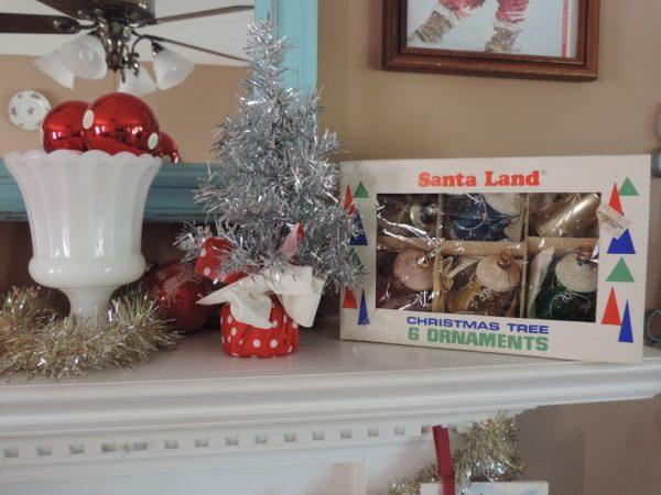 Vintage Kitsch Christmas Tree Ornaments On Display