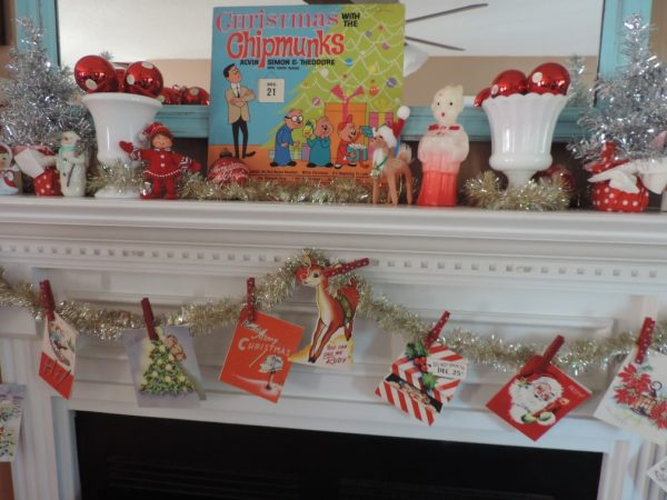 Retro Christmas Mantel With Vintage Holiday Cards