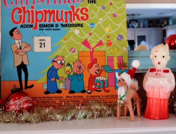 Vintage Chipmunk Christmas Album On A Holiday Mantel