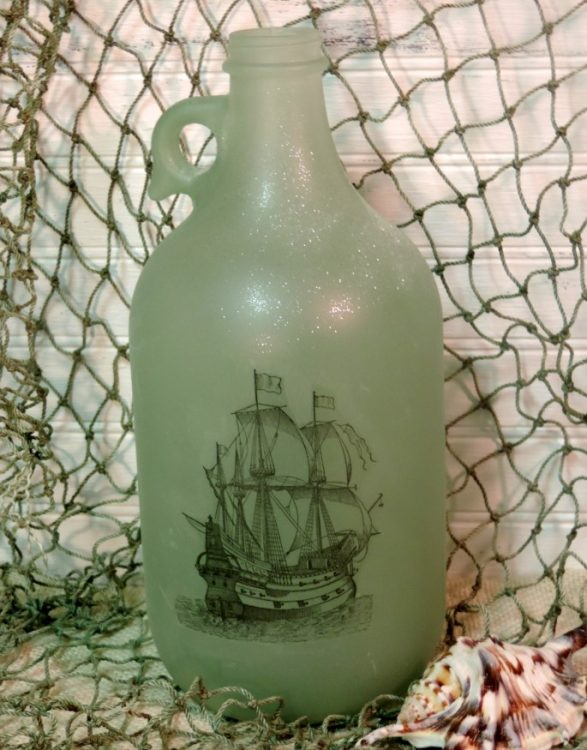 Painted Antique Ship Green Beach Glass Bottle