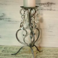 Antiqued Silver Scroll Candle Holder With Crystals