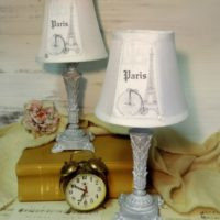 Elegant Grey French Paris Eiffel Tower Table Lamps