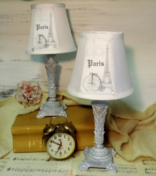 French Country Style Elegant Grey Paris Eiffel Tower Table Lamps