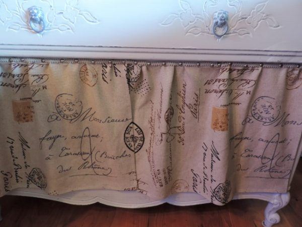 French Inspired Upcycled Dresser with French Script Fabric