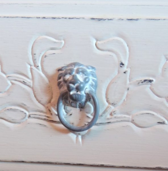 A Gray Painted Lion Head Drawer Pull on a French Inspired Upcycled Dresser