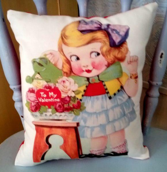 Retro Vintage Girl Valentine's Day Card Pillow