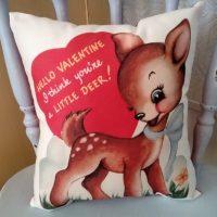 Retro Vintage Reindeer Valentine Pillow