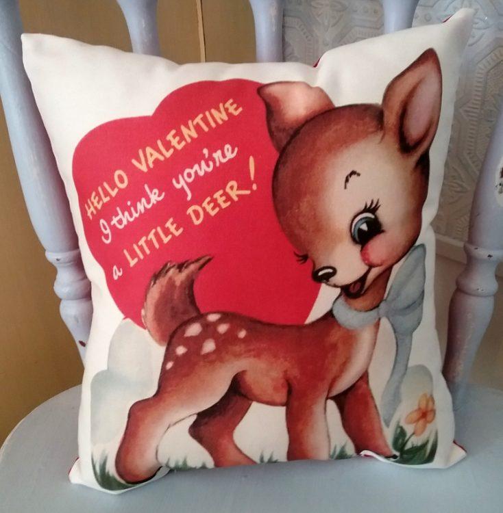 retro vintage reindeer valentine pillow - Valentine Pillow
