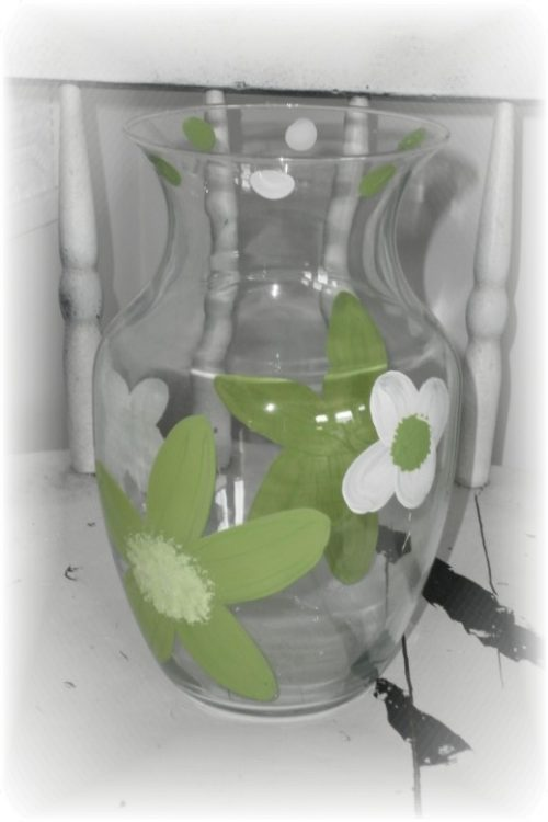Hand Painted Lime Green Spring Flower Glass Vase