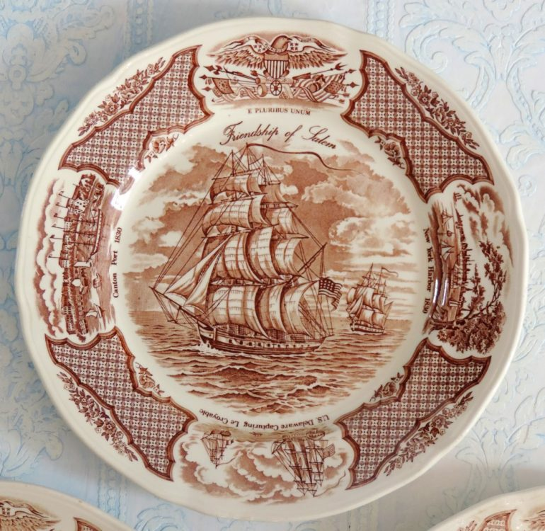 Fairwinds Friendship Of Salem Brown Transferware Dinner