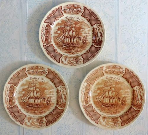 Fairwinds Friendship of Salem Brown Transferware Dinner Plates