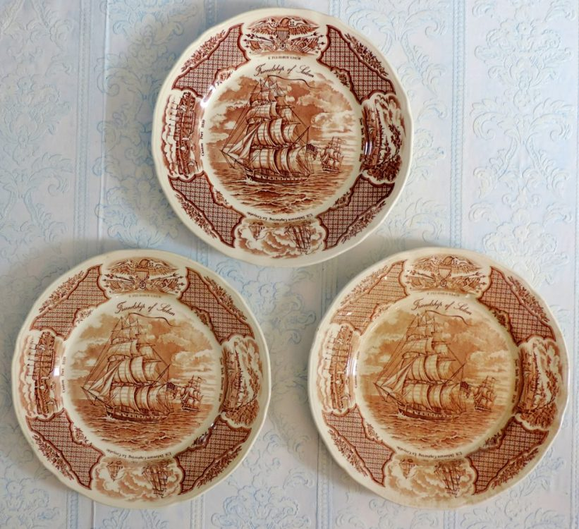 Fairwinds Friendship of Salem Brown Transferware Dinner Plates & French Country Decor Archives -
