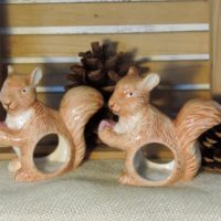 Cute Squirrel Napkin Rings Napkin Holders Woodland Decor