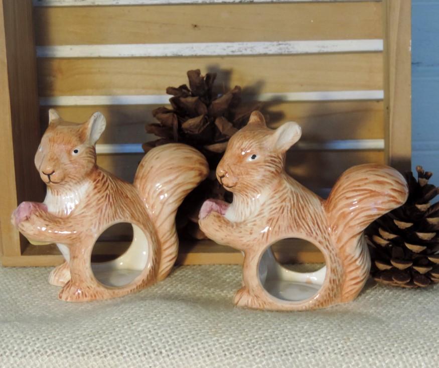 Cute Squirrel Napkin Rings Napkin Holders Woodland Decor