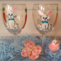 Hand Painted Easter Bunny Wine Glasses