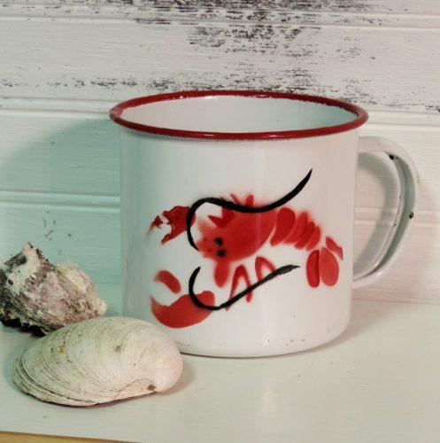 Vintage Inspired Lobster Enamel Coffee Cup