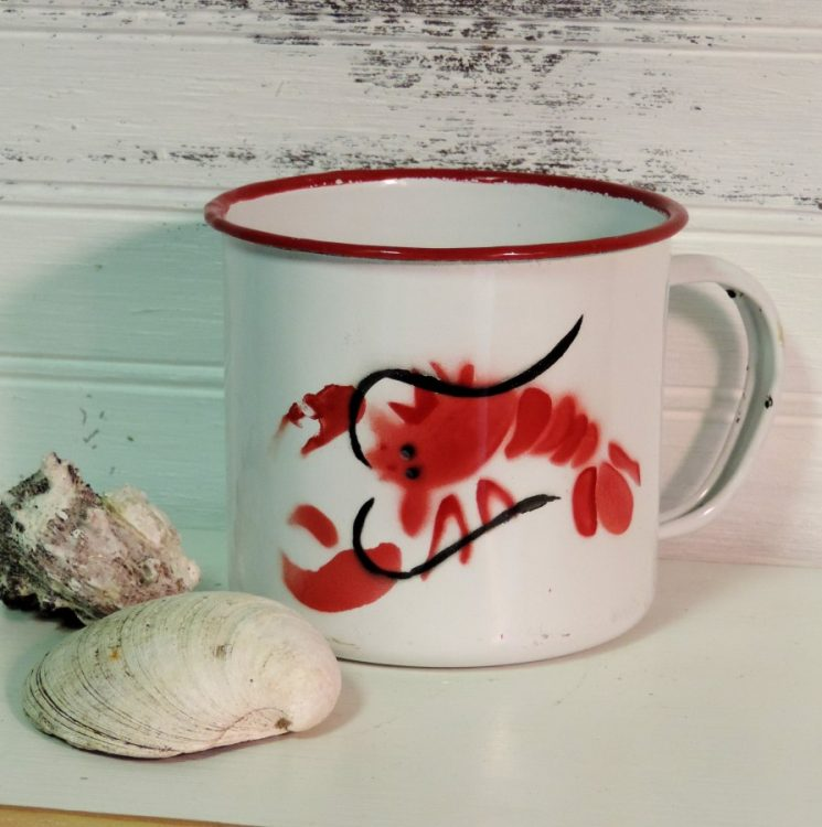 Red and White Lobster Enamel Coffee Cup