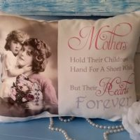 Handmade Mothers Hold Their Children's Hand Gift Pillow