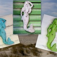 Shabby Beach Distressed Painted Mermaid Hooks Nautical Bathroom Decor