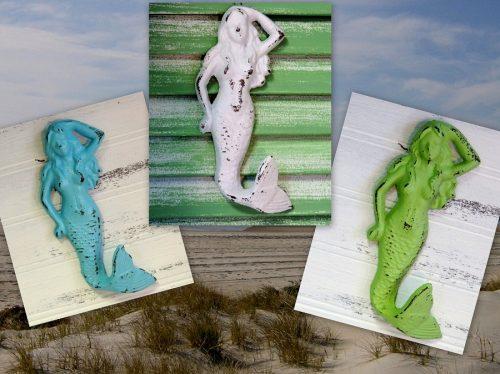 Shabby Beach Distressed Painted Mermaid Hooks Nautical Bathroom Decor