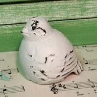 Distressed Shabby White Bird Figurine Cottage Decor