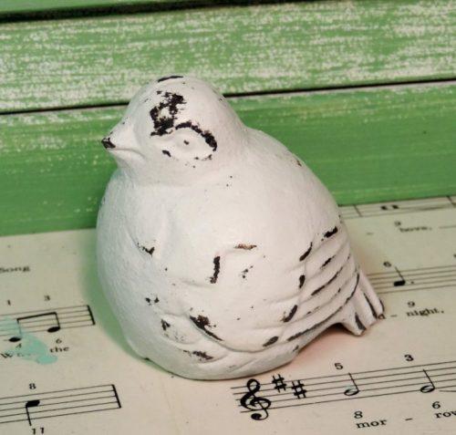 Distressed Shabby White Bird Figurine Cottage Decor