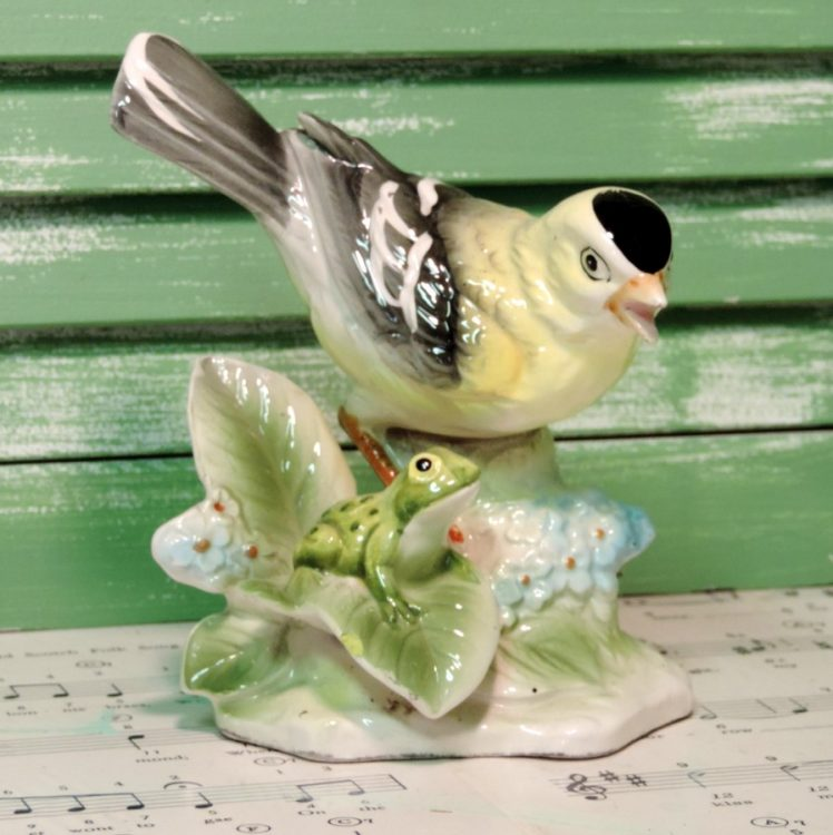 Vintage Ceramic Yellow Goldfinch Bird Figurine