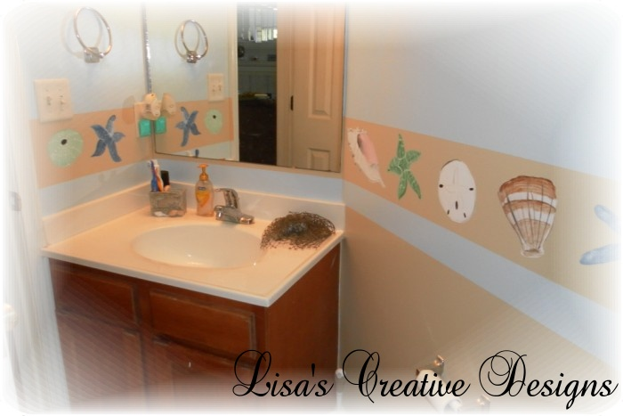 Hand Painted Seashell Bathroom Border