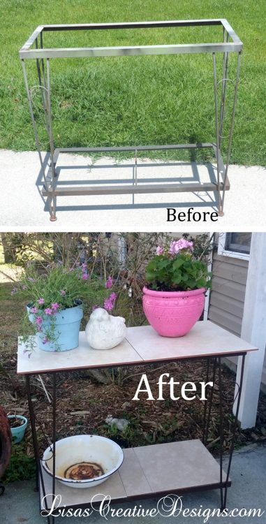Before and After - A Repurposed Fish Tank Stand Garden Decor