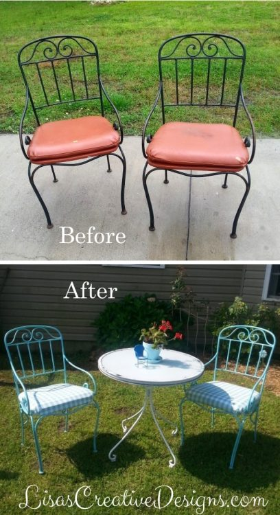 Upcycled Outdoor Bistro Set Thrift Store Chair Makeover