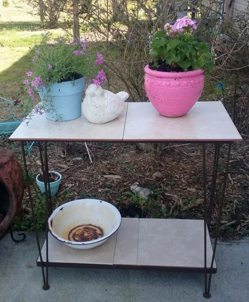 Upcycled Fish Tank Stand Patio Table