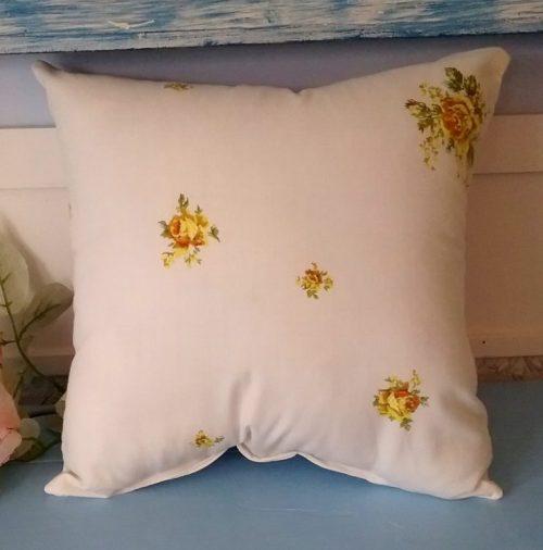 Shabby Chic Yellow Rose Pillow Back