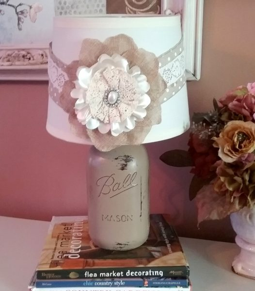 Beige Shabby Chic French Country Mason Jar Lamp