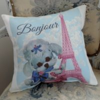 Bonjour French Poodle Eiffel Tower Pillow