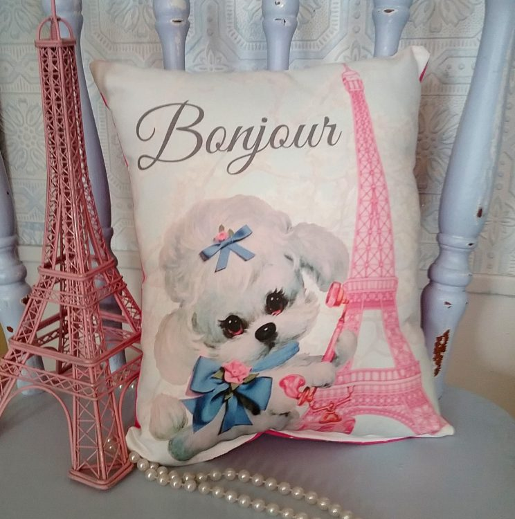 Bonjour French Poodle Pink Eiffel Tower Pillow