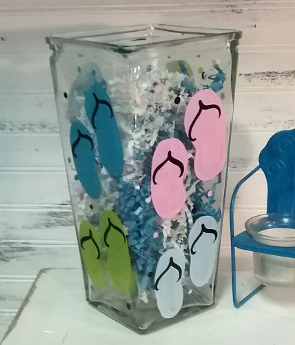 Flip Flop Glass Flower Vase Summer Decor
