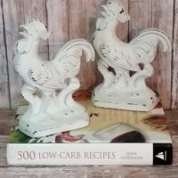 Cast Iron White French Country White Rooster Bookends Kitchen Decor