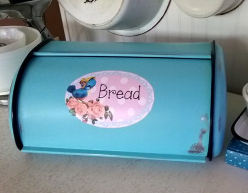 Shabby Cottage Bluebird Metal Bread Box