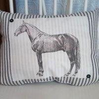 Vintage Inspired Black Ticking Horse Pillow