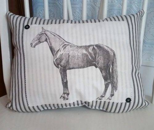 Vintage Inspired Black Ticking Horse Pillow