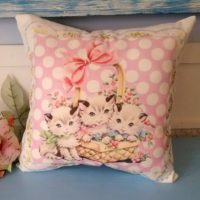 Handmade Vintage Kitsch Kitten Pillow