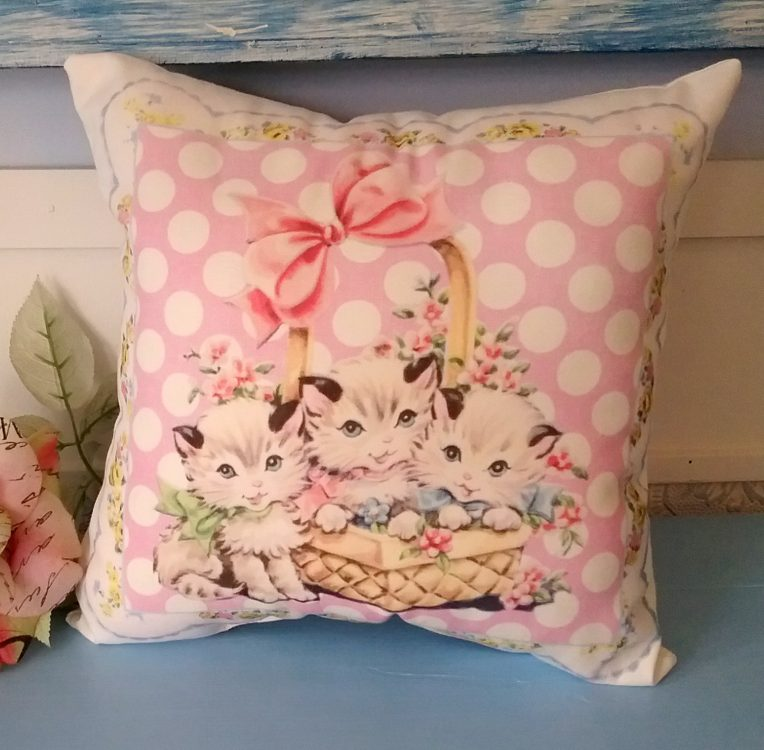Vintage Kitsch Kitten In A Basket Pillow Nursery Decor