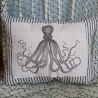 Vintage Octopus Ticking Pillow