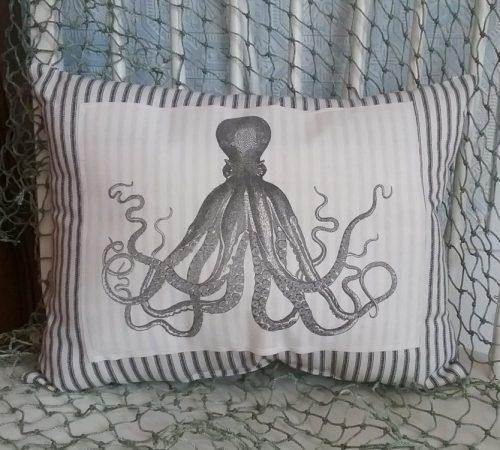 Vintage Octopus Ticking Pillow