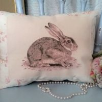 Shabby Cottage Vintage Inspired Bunny Rabbit Pillow