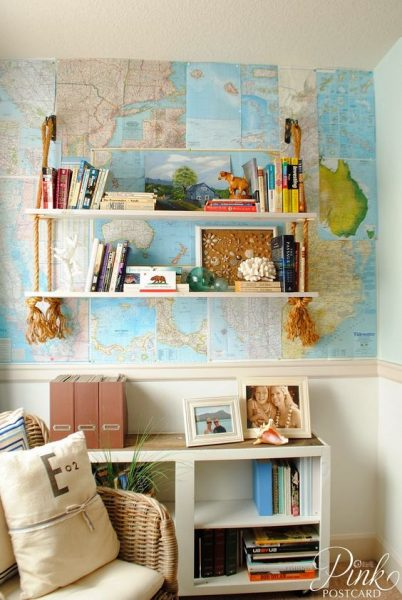 Creative Map Wall In A Beach Cottage