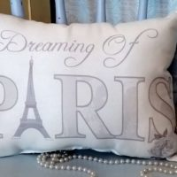French Country Gray Dreaming Of Paris Eiffel Tower Pillow