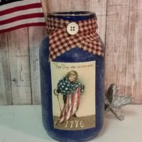 Vintage Patriotic Mason Jar Candle Holder The Day We Celebrate