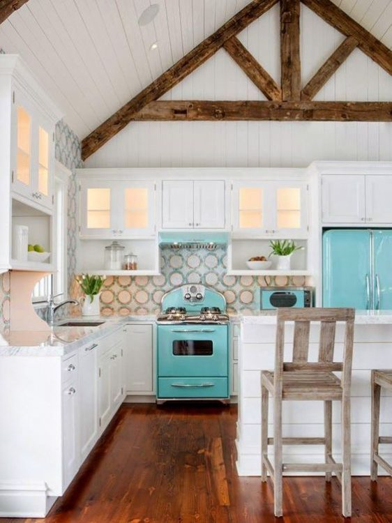 Retro Aqua Blue Kitchen For A Beach Cottage