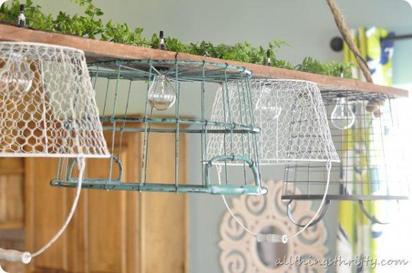 DIY Wire Basket Chandelier